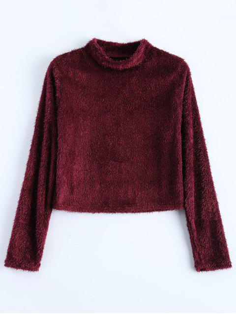 fancy High Neck Fuzzy Cropped T-Shirt - WINE RED XL Mobile