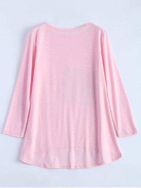T-shirt à paillettes asymétrique - ROSE PÂLE XL Mobile