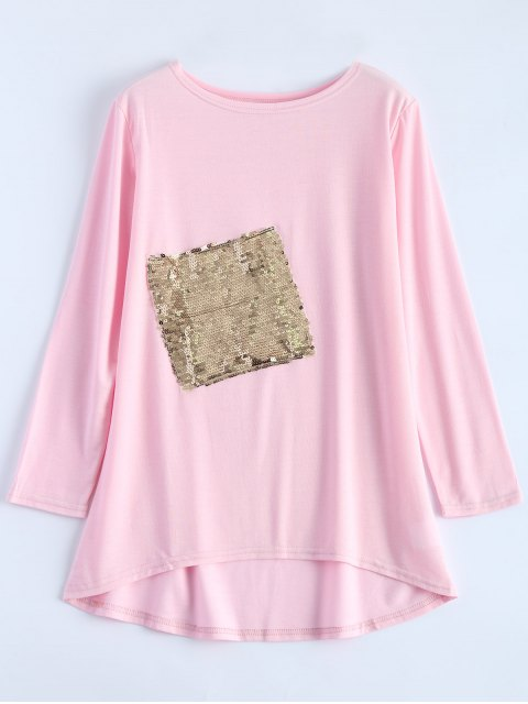 best Sequined Asymmetric T-Shirt - PINK S Mobile