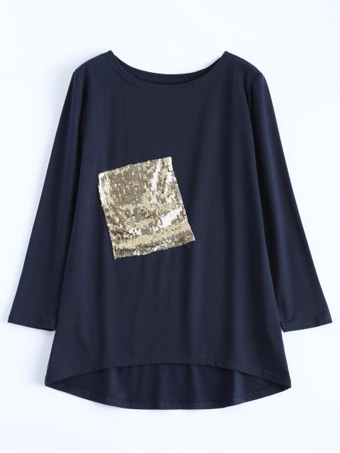 new Sequined Asymmetric T-Shirt - PURPLISH BLUE L Mobile