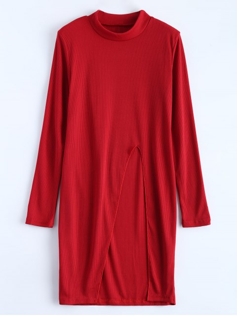 latest High Neck High Slit T-Shirt - RED S Mobile
