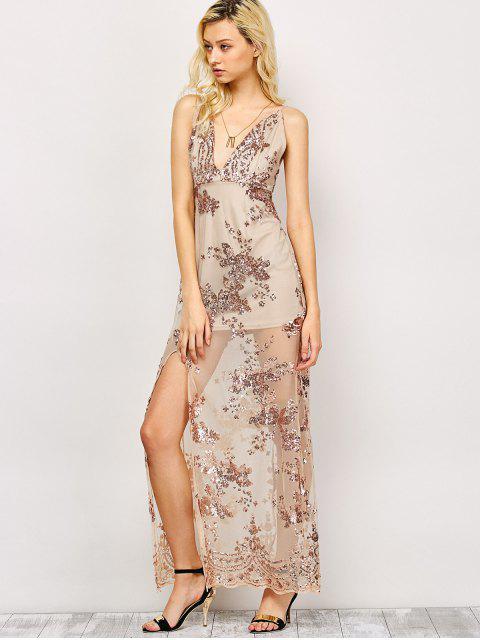 affordable Low Cut High Slit Sequins Maxi Dress - APRICOT XL Mobile