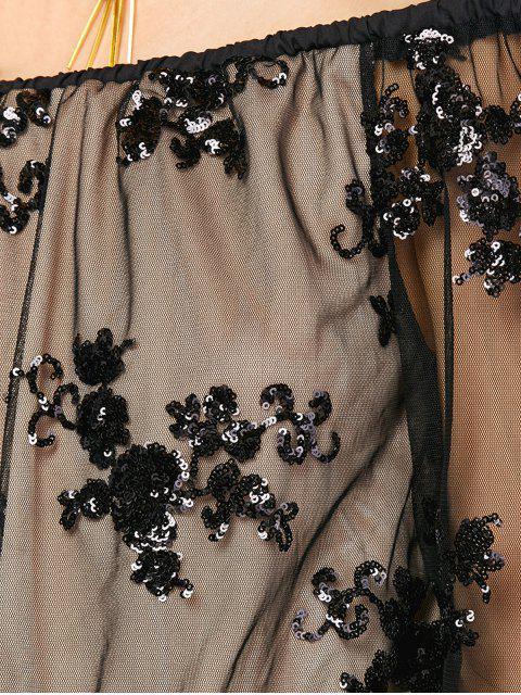 fancy Off Shoulder Sequins Long Sleeve Romper -   Mobile