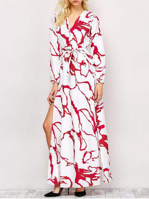 womens High Slit Long Sleeve Maxi Dress - RED AND WHITE XL Mobile