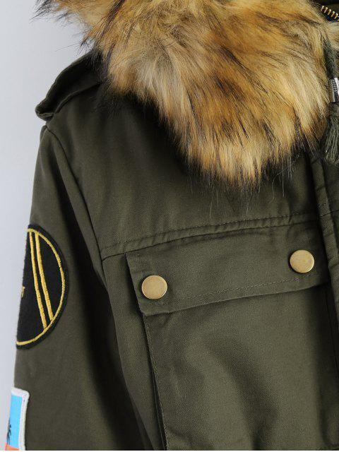 outfits Patch Hooded Parka Coat - ARMY GREEN L Mobile