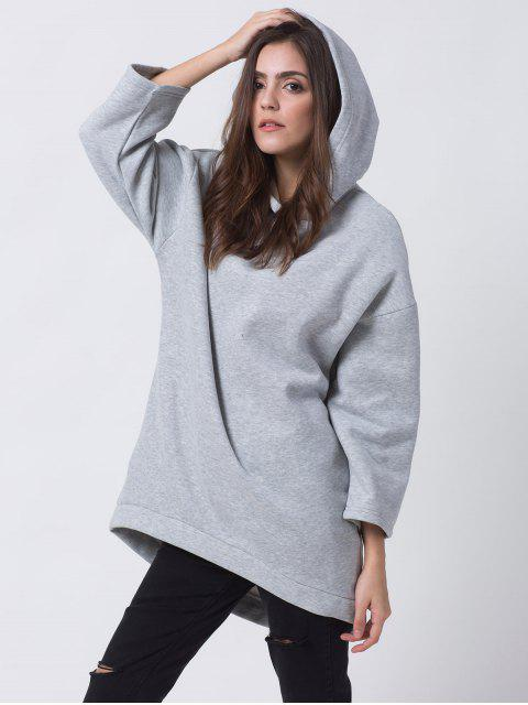trendy Pullover High Low Hoodie - LIGHT GRAY M Mobile