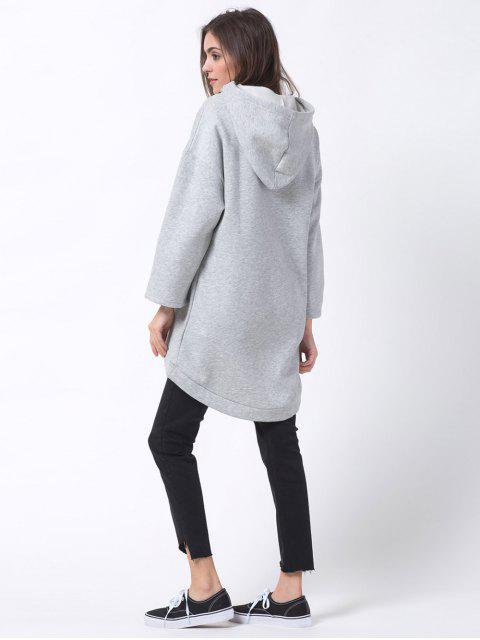 latest Pullover High Low Hoodie - LIGHT GRAY L Mobile