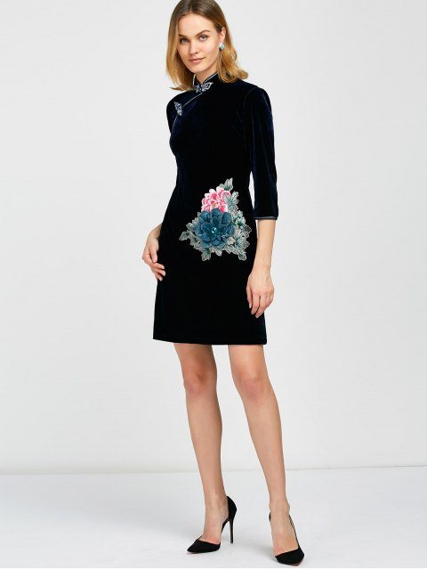 women Embroidered Patch Velvet Cheongsam Dress -   Mobile