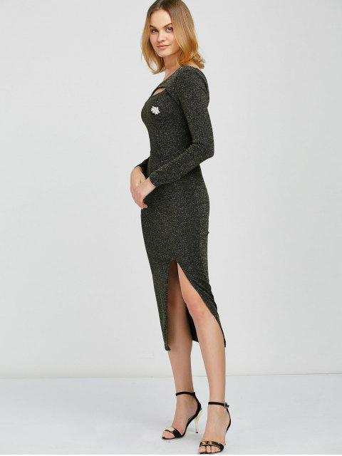 fancy Shimmer Pencil Dress - BLACK AND GOLDEN ONE SIZE Mobile