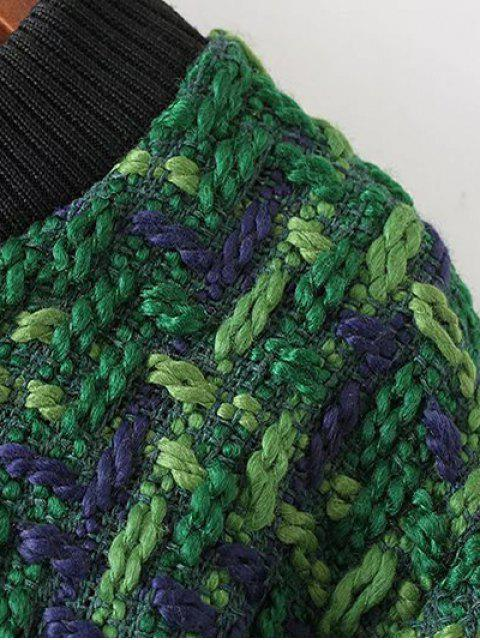 Robe en tricot chiné avec ourlet à franges - Vert M Mobile