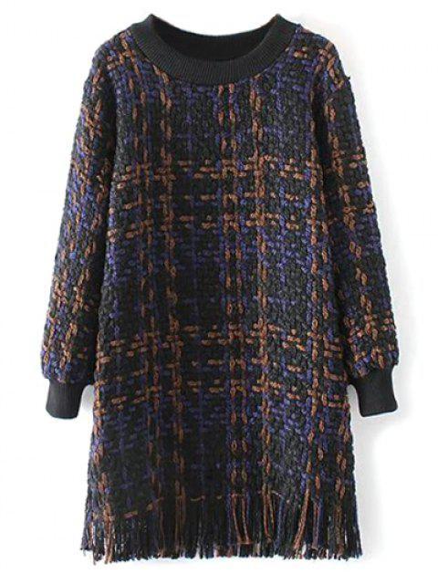 shop Heathered Fringed Sweater Dress - PURPLISH BLUE L Mobile