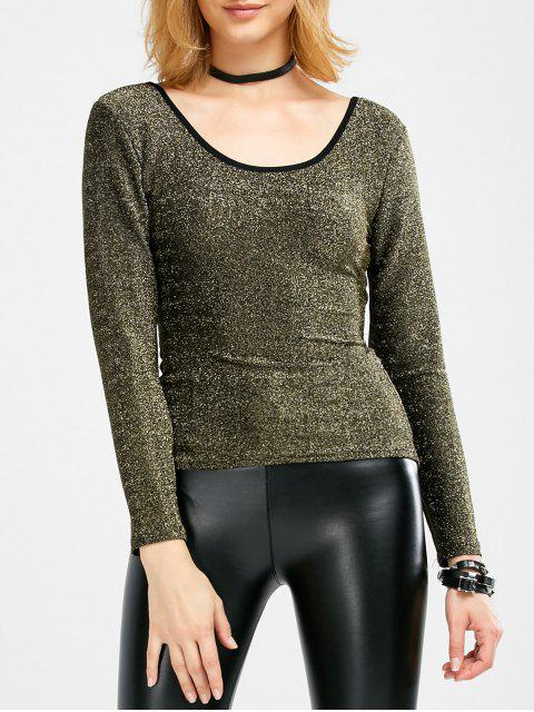 best Long Sleeve Glitter Scoop Tee - GOLDEN ONE SIZE Mobile