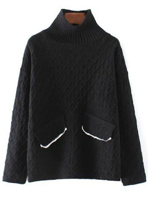 trendy Jacquard Mock Neck Sweater - BLACK ONE SIZE Mobile