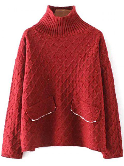fashion Jacquard Mock Neck Sweater - RED ONE SIZE Mobile