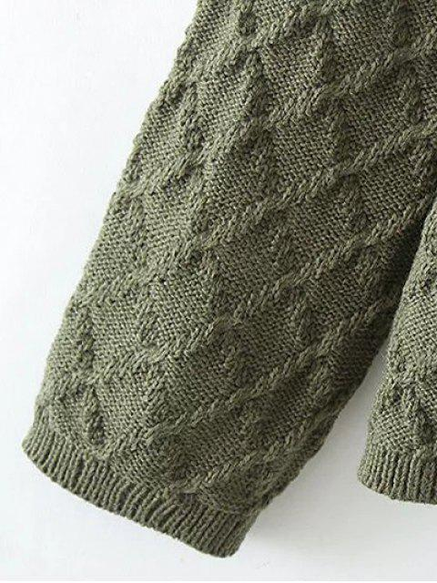 chic Jacquard Mock Neck Sweater - GREEN ONE SIZE Mobile