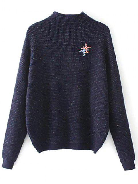 sale Oversized Mock Neck Sweater With Brooch - PURPLISH BLUE ONE SIZE Mobile