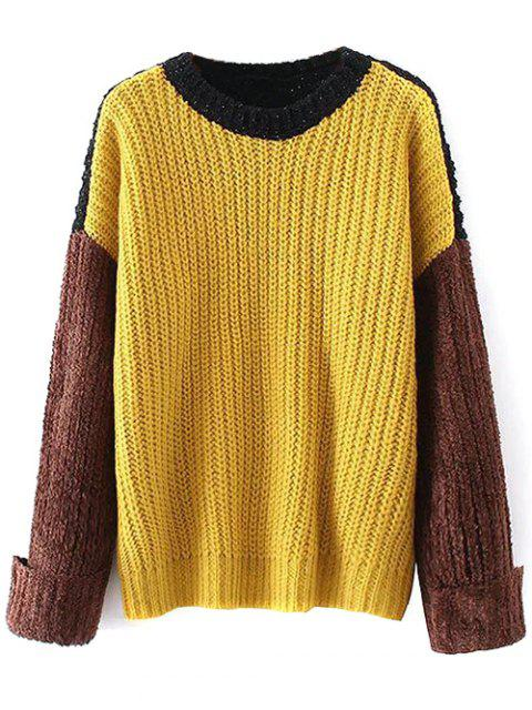 affordable Oversized Color Block Chunky Sweater - YELLOW ONE SIZE Mobile