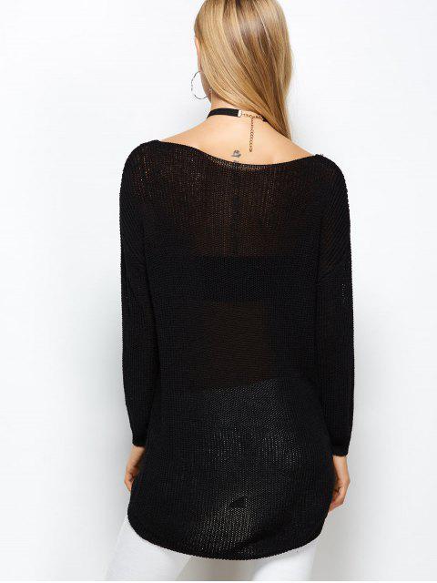 lady V Neck Open Stitch Sweater - BLACK ONE SIZE Mobile