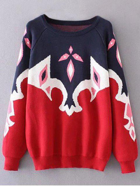 women Plus Size Color Block Jacquard Sweater - RED 3XL Mobile