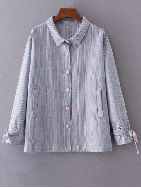 buy Striped Tied Sleeve Plus Size Shirt - BLUE 2XL Mobile