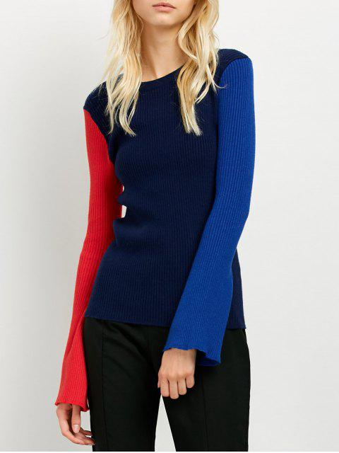 chic Contrast Bell Sleeve Ribbed Sweater - CADETBLUE ONE SIZE Mobile