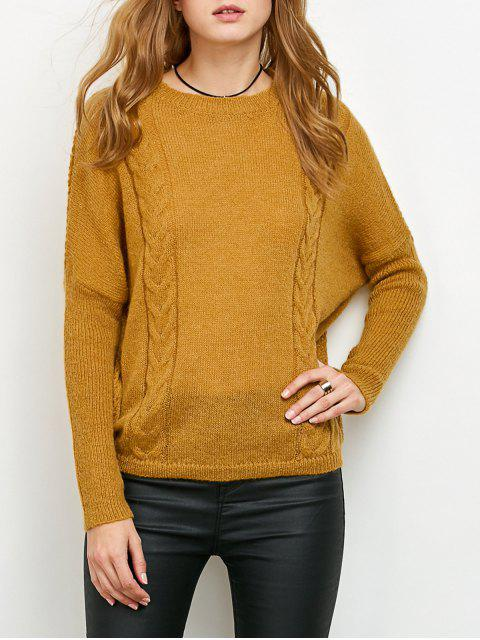 outfit Cable Knit Batwing Sleeve Jumper - YELLOW ONE SIZE Mobile