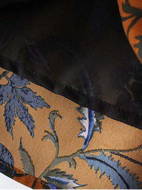 hot Floral Long Sleeve Drop Waist Dress - PURPLISH BLUE M Mobile