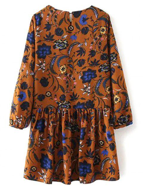 outfits Floral Long Sleeve Drop Waist Dress - GINGER L Mobile