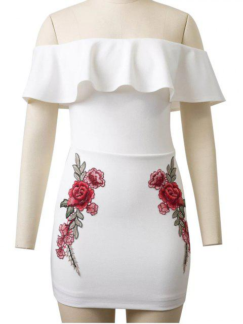 new Flounced Rose Embroidered Bodycon Dress - WHITE S Mobile