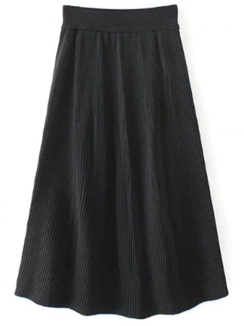 womens Knitted Ribbed Midi Skirt - BLACK ONE SIZE Mobile