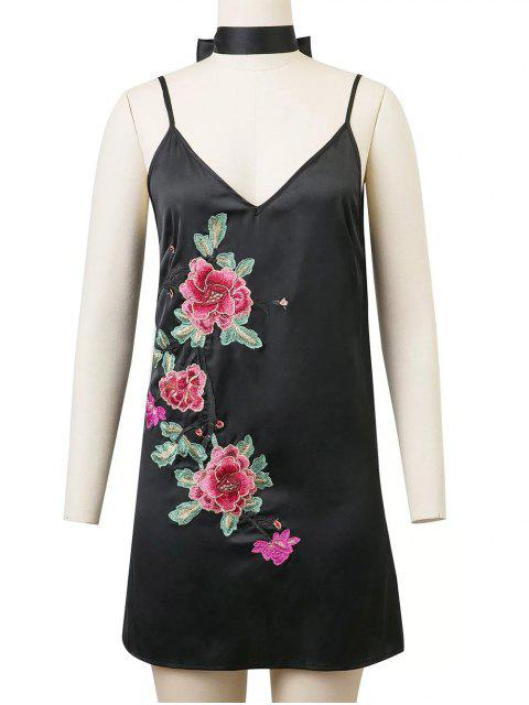 chic Cami Rose Embroidered A-Line Dress - BLACK L Mobile