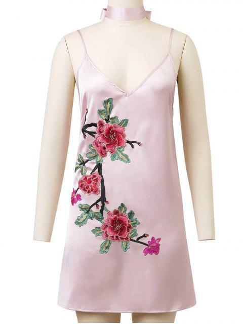 sale Cami Rose Embroidered A-Line Dress - PINK L Mobile