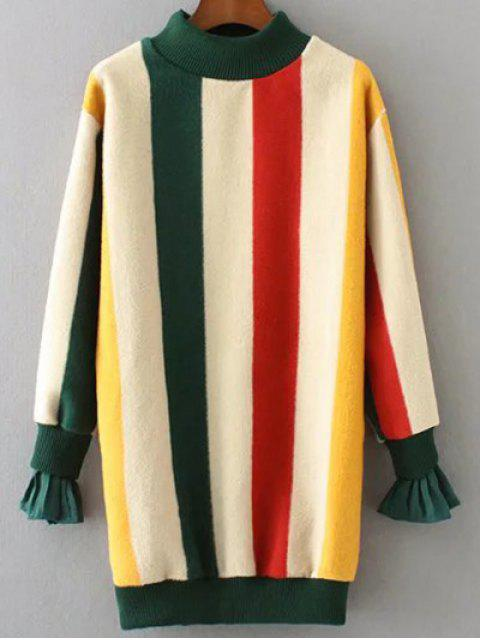 shop Mock Neck Striped Fluffy Sweater - GREEN M Mobile