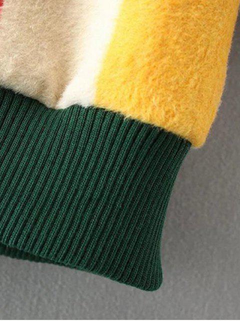 shops Mock Neck Striped Fluffy Sweater - KHAKI L Mobile
