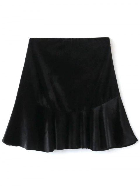 best Flounced Velvet A-Line Skirt - BLACK S Mobile