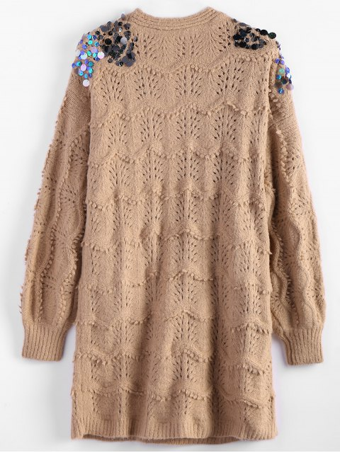 latest Longline Sequins Open Knit Cardigan - KHAKI ONE SIZE Mobile