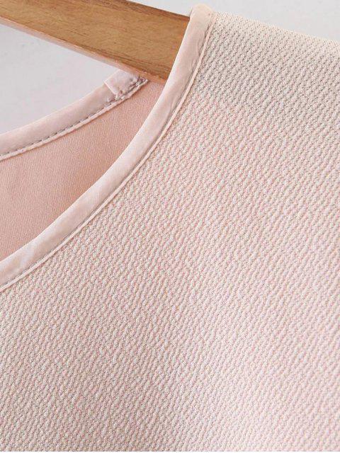 women's Half Sleeve Faux Fur Top - NUDE M Mobile