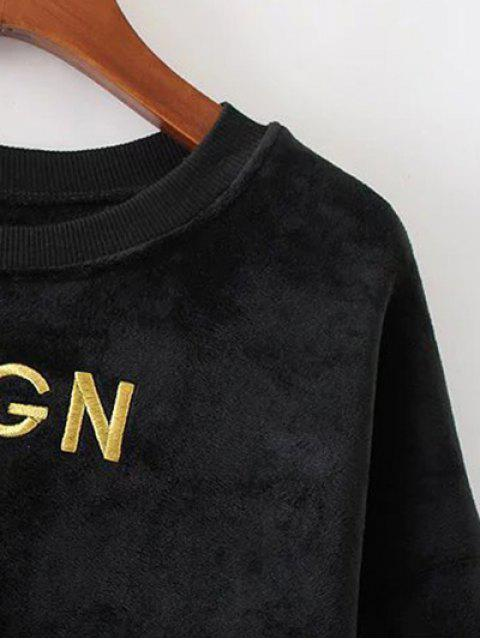 ladies Embroidered Sequin Fluffy Sweatshirt - BLACK L Mobile