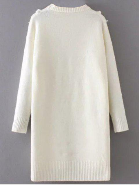 trendy Tassel Round Neck High Low Jumper - WHITE ONE SIZE Mobile