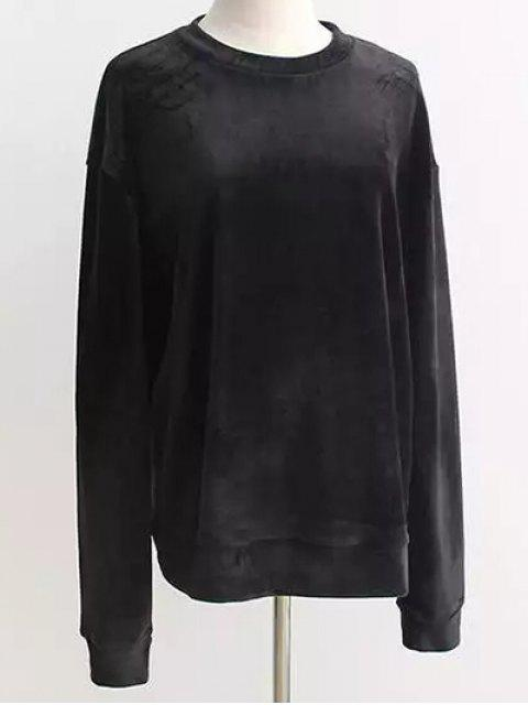 online Oversized Velvet Sweatshirt - BLACK ONE SIZE Mobile