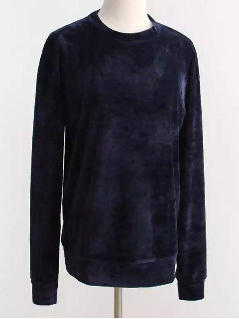 new Oversized Velvet Sweatshirt - PURPLISH BLUE ONE SIZE Mobile