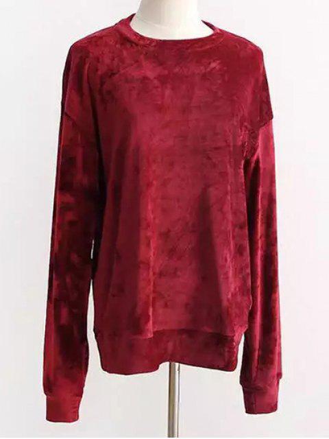 hot Oversized Velvet Sweatshirt - RED ONE SIZE Mobile