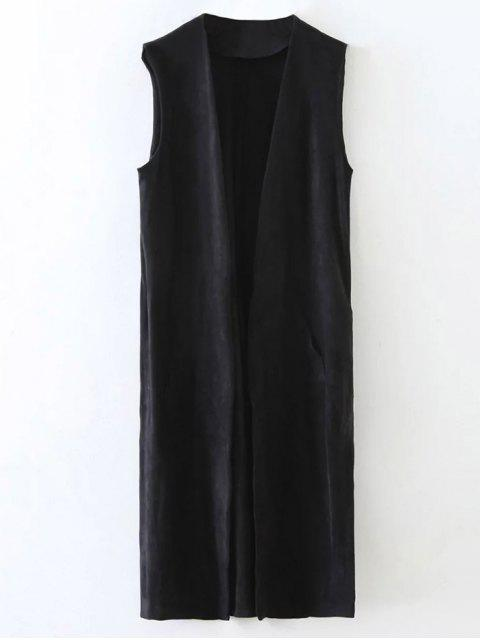 womens Longline Side Slit Suede Waistcoat - BLACK S Mobile