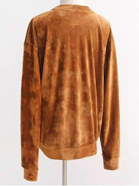 outfit Oversized Velvet Sweatshirt - EARTHY ONE SIZE Mobile