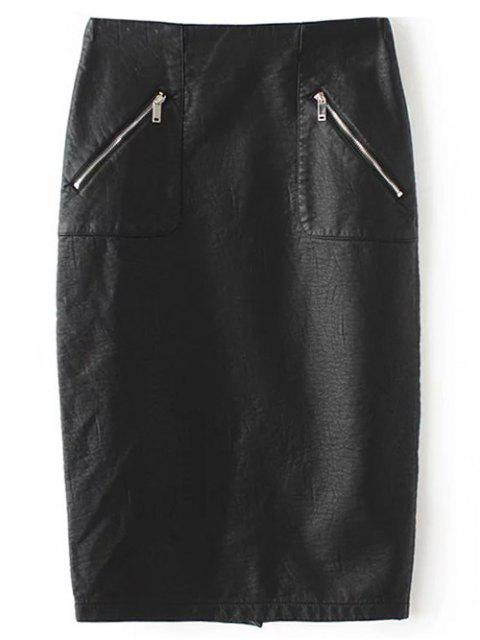 affordable PU Leather Pencil Skirt - BLACK S Mobile
