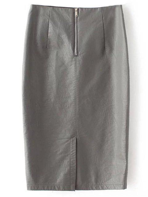 women PU Leather Pencil Skirt - GRAY S Mobile
