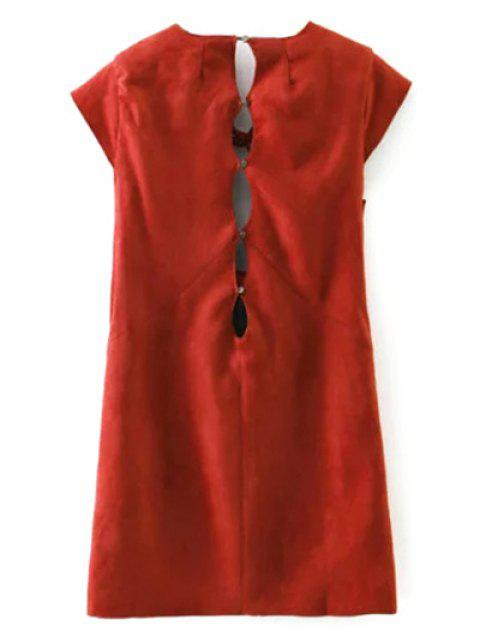 women's Faux Suede Cut Out Mini Dress - RED S Mobile