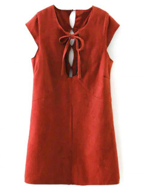 womens Faux Suede Cut Out Mini Dress - RED L Mobile
