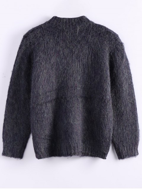 outfit Funnel Neck Fluffy Sweater - PURPLISH BLUE ONE SIZE Mobile