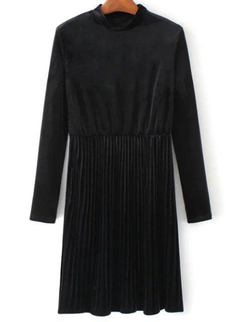 chic Long Sleeve Vintage Velvet Pleated Dress - BLACK L Mobile